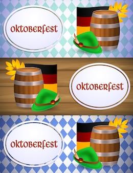Banner de oktoberfest com barril de cerveja e bandeira alemã
