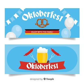 Banner de oktoberfest definido em design plano