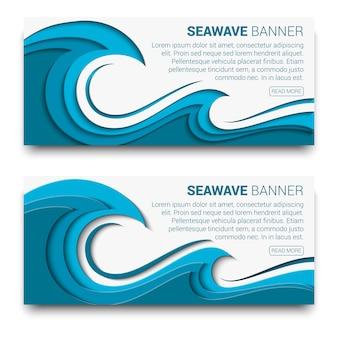 Banner de onda do mar com efeito de estilo de corte de papel