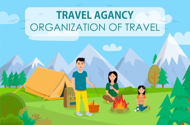 Banner de organização de férias de verão com letras.