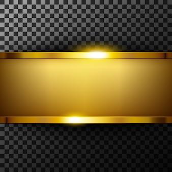 Banner de ouro metálico com espaço de texto