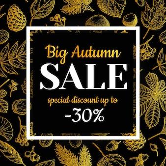 Banner de ouro venda outono com folhas