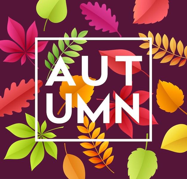 Banner de outono com folhas de outono de papel.