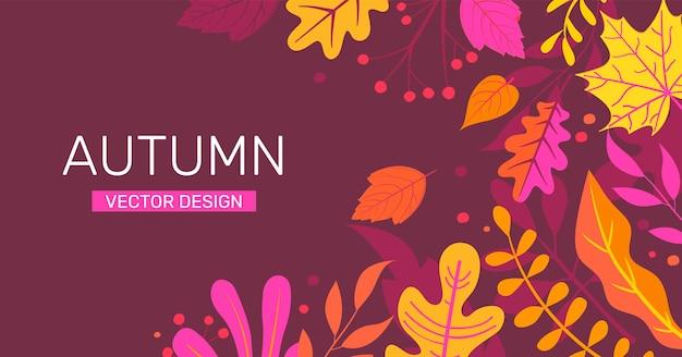 Banner de outono com folhas de outono, lugar para texto.