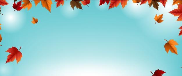 Banner de outono com fundo de borrão de folhas coloridas