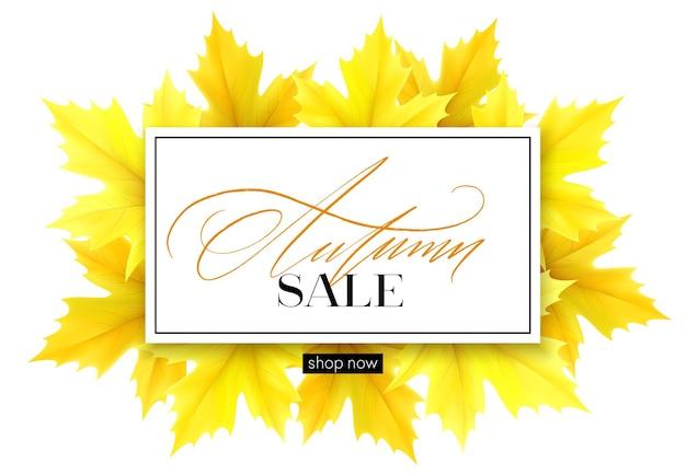 Banner de outono com letras e folhas de bordo de outono amarelas