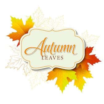 Banner de outono com moldura e folhas