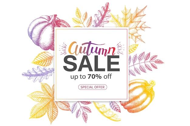 Banner de outono de venda com folhas multicoloridas de mão desenhada doodle desenhado. oferta especial.