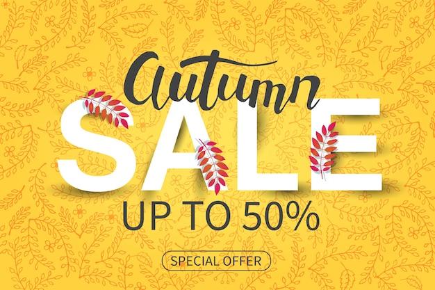 Banner de outono de venda. oferta especial.