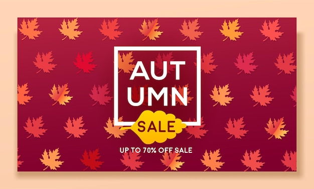 Banner de outono moderno com folhas para venda e desconto