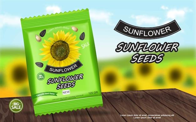 Banner de pacote de sementes de girassol