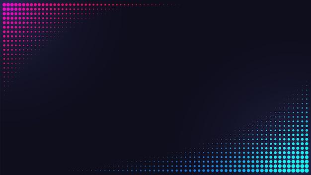 Banner de padrão de meio-tom rosa e azul em fundo escuro