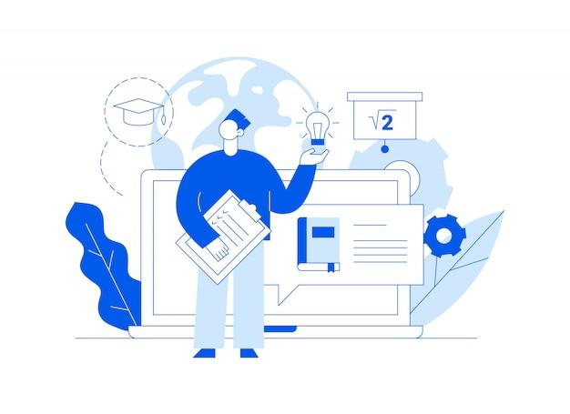 Banner de página da web de educação on-line com grande homem moderno segurando a lâmpada e a lista de verificação.