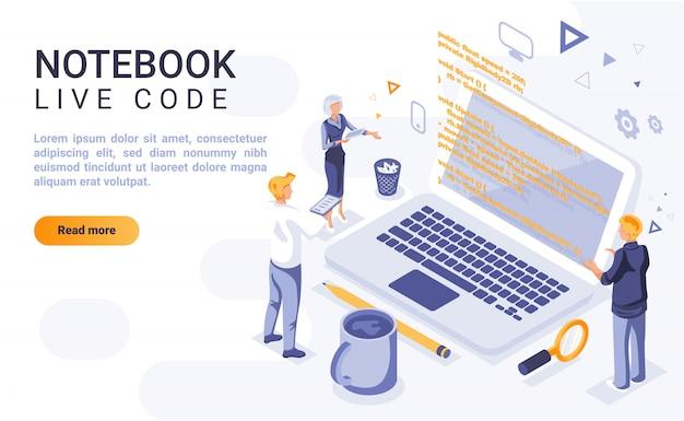 Banner de página de aterrissagem de código ao vivo de notebook com ilustração isométrica