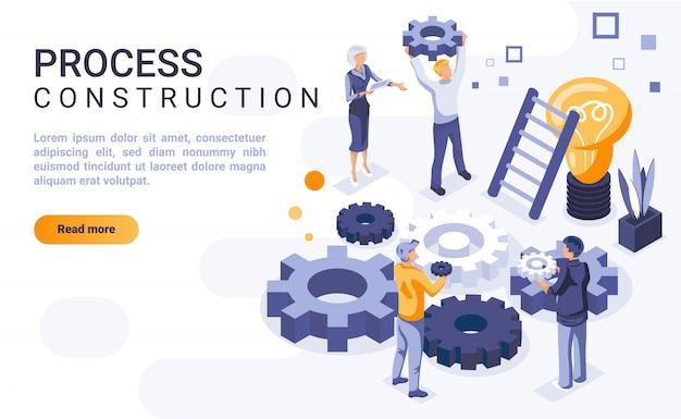 Banner de página de aterrissagem de construção de processo com ilustração isométrica