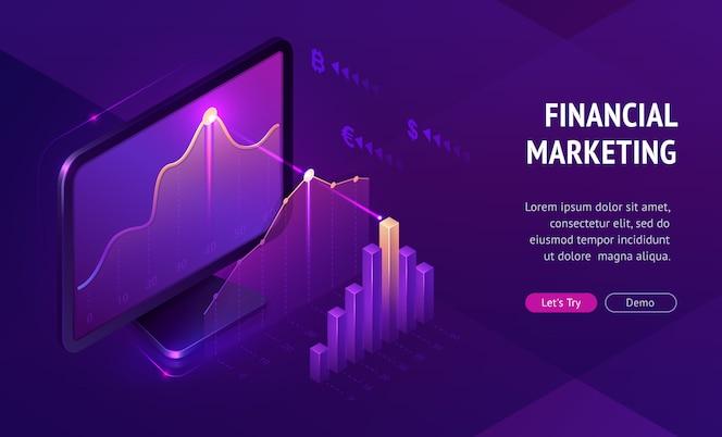 Banner de página de destino isométrica de marketing financeiro