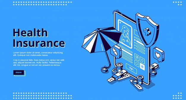 Banner de página de destino isométrica de seguro de saúde