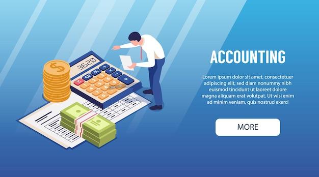 Banner de página de destino isométrica horizontal de contabilidade