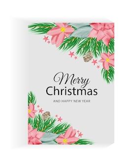 Banner de panfleto de natal em aquarela fundo pintado à mão