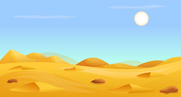 Banner de panorama quente do deserto, estilo cartoon