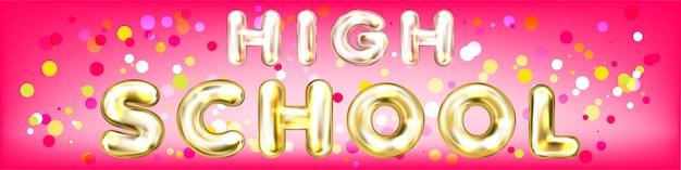 Banner de panorama rosa colegial