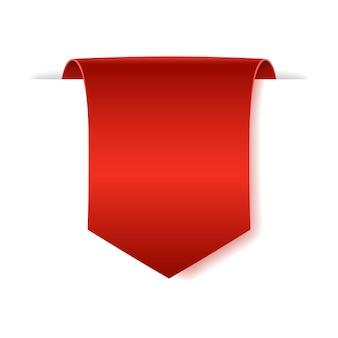 Banner de papel pergaminho em branco. fita de papel vermelha em fundo branco.