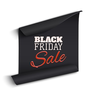 Banner de papel preto curvado realista. fita. venda de sexta-feira negra. ilustração.