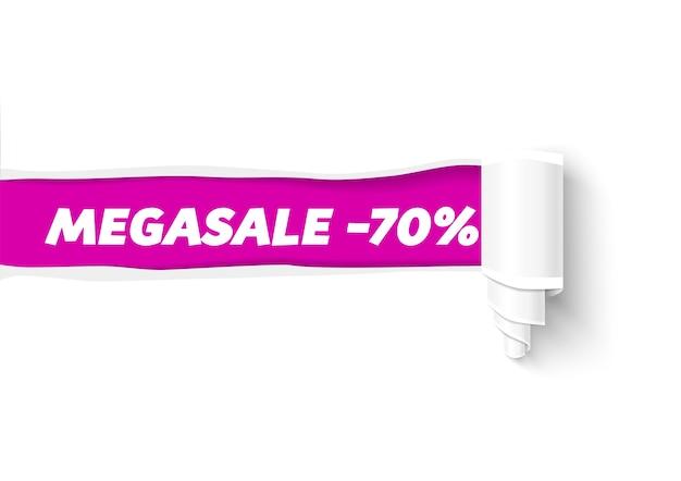 Banner de papel rasgado com rolo de papel. furo em papel branco com espaço para texto. modelo de papel rasgado para promoção de venda e publicidade.