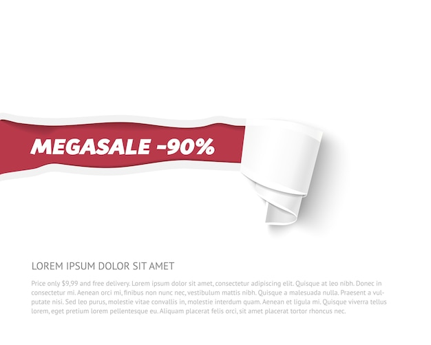 Banner de papel rasgado com rolo de papel. ilustração em papel para publicidade de venda