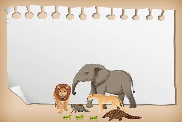 Banner de papel vazio com animal africano selvagem