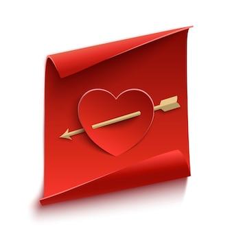 Banner de papel vermelho, curvo, com coração e flecha.