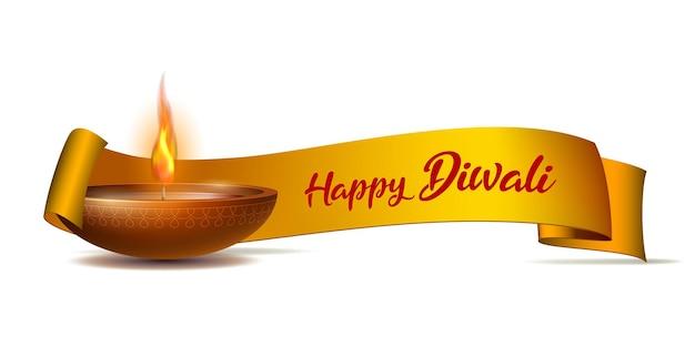 Banner de parabéns com diya em chamas e fita amarela no feriado feliz de diwali para o festival da luz da índia. banner de modelo de feliz dia deepavali. elementos de decoração de férias lâmpada de óleo deepavali.
