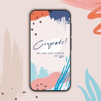 Banner de parabéns para smartphone em memphis