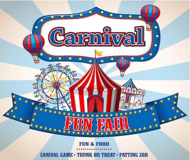 Banner de parque de diversões colorido carnaval