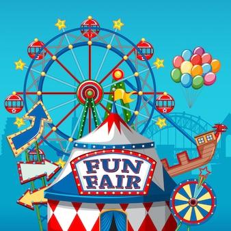 Banner de parque de diversões de carnaval colorido
