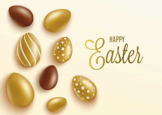Banner de páscoa com ilustração realista de ovos de ouro e chocolate.