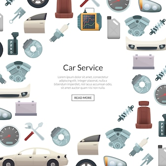 Banner de peças de carro com texto