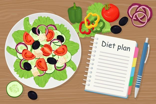 Banner de perda de peso com salada, vegetais e plano de dieta em um caderno. alimentação saudável, dieta saudável