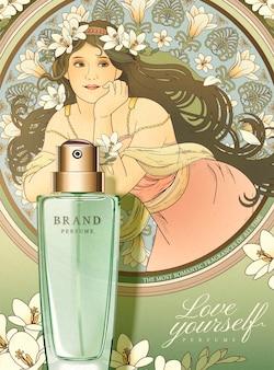 Banner de perfume de frésia com a deusa do estilo mucha segurando flores