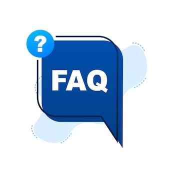 Banner de perguntas frequentes do faq. balão de fala com texto faq. ilustração em vetor das ações.