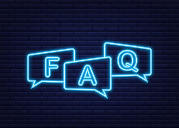 Banner de perguntas frequentes do faq. ícone de néon. ilustração em vetor das ações.