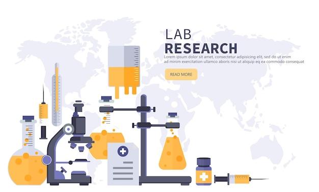 Banner de pesquisa de laboratório e medicina