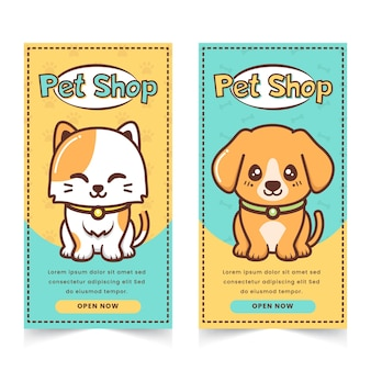 Banner de pet shop fofo com personagem de gato e cachorrinho