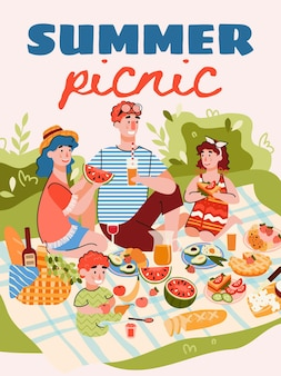 Banner de piquenique em família de verão ou modelo de pôster cartoon