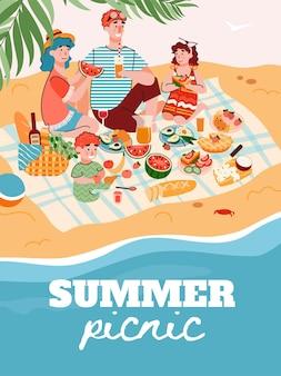 Banner de piquenique familiar de verão ou modelo de cartaz com personagens de desenhos animados de membros da família felizes, desfrutando de férias e recreação na costa do mar, ilustração vetorial plana.