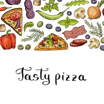 Banner de pizza de cozinha e com lugar para texto