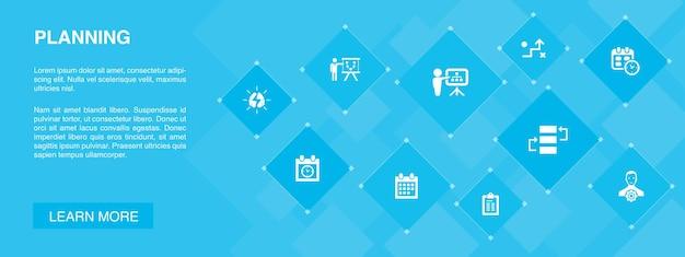 Banner de planejamento 10 ícones concept.calendar, cronograma, calendário, ícones simples de plano de ação