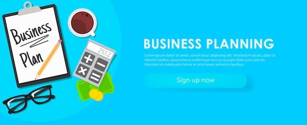 Banner de planejamento de negócios. local de trabalho com documentos, dinheiro, óculos, calculadora.