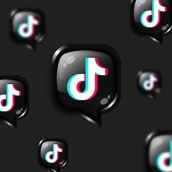 Banner de plano de fundo de ícones de tiktok flutuante de mídia social