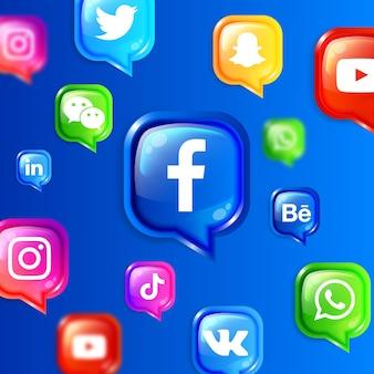 Banner de plano de fundo de ícones flutuantes de mídia social